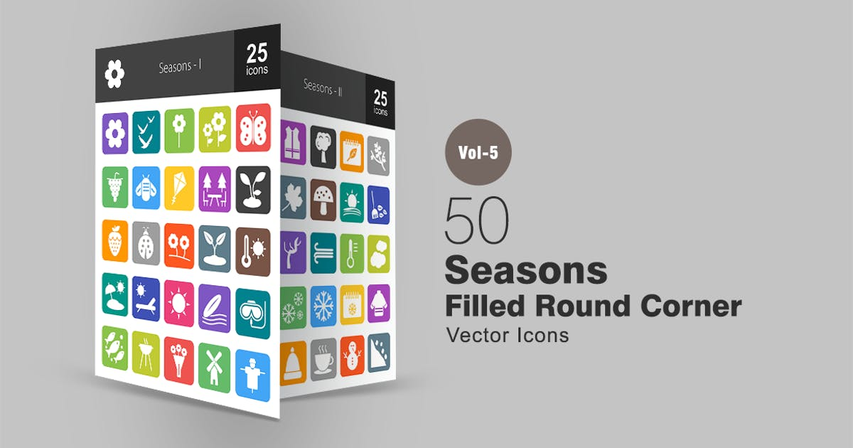Download 50 Seasons Flat Round Corner Icons by IconBunny