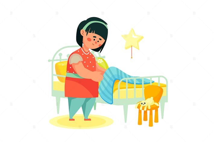 Thumbnail for Girl making her bed flat design style illustration