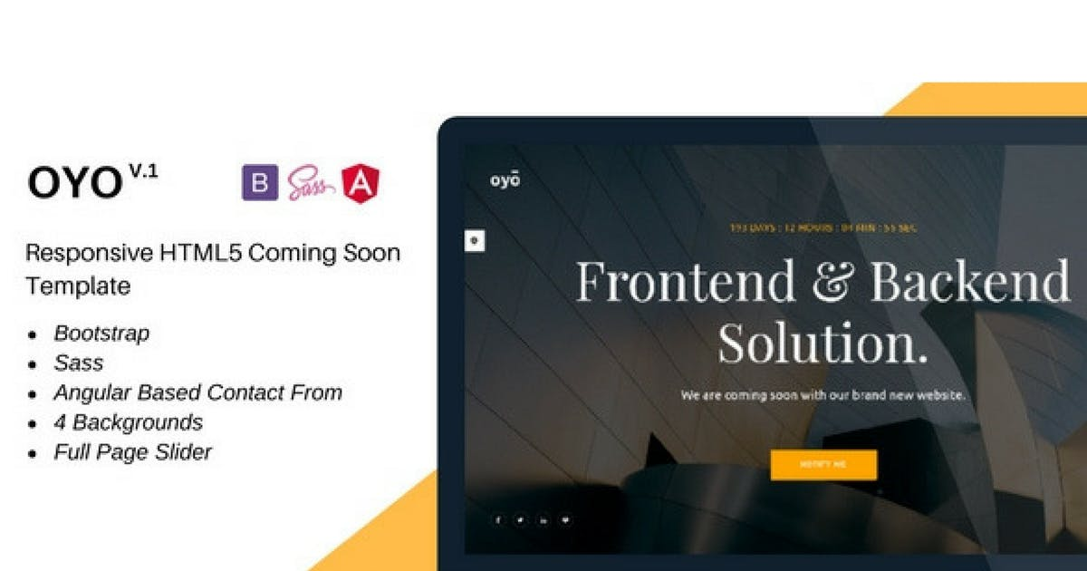 Download Oyo – Responsive HTML5 Coming Soon Template by Hencework