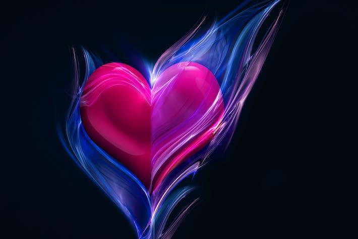 rosa Herz im blauen Feuer