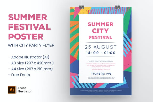 Colorful Summer City Festival Poster & Party Flyer