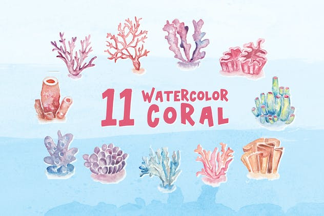 11 Watercolor Coral Illustration Graphics
