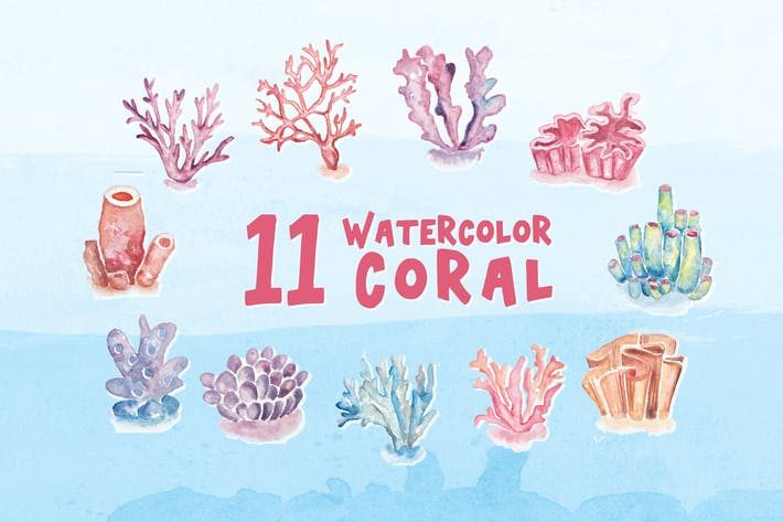 Thumbnail for 11 Watercolor Coral Illustration Graphics