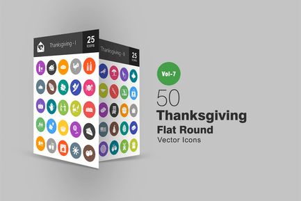 50 Thanksgiving Flat Round Icons