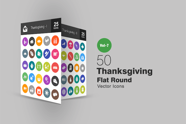 Thumbnail for 50 Thanksgiving Flat Round Icons