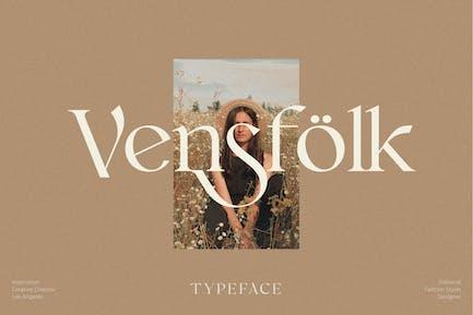 Tipografía clásica moderna de Vensfolk