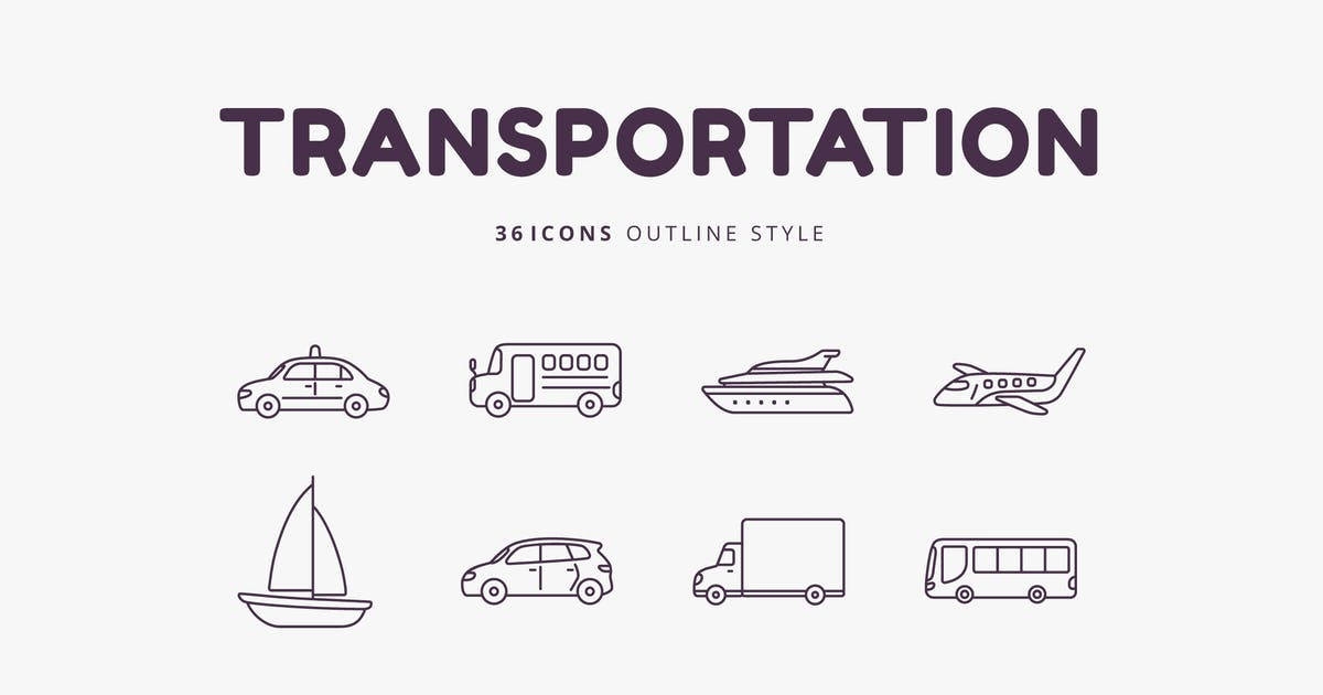 Download 36 Transportation Outline Style Icons by Victoruler