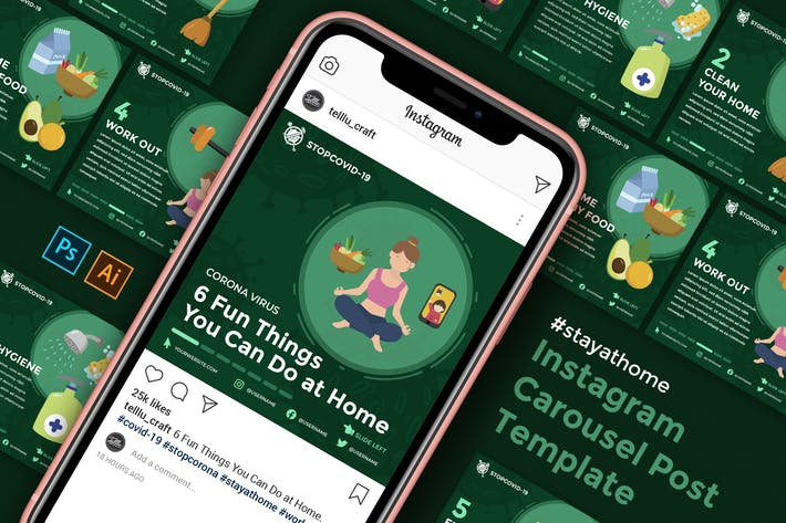 Thumbnail for Instagram Carousel Post Template - Stay at Home