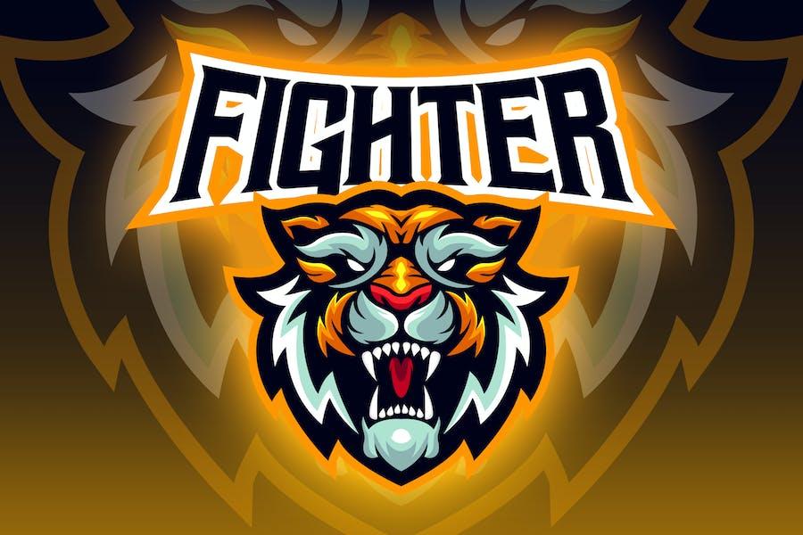 Aggressive Tiger Head Esport Logo