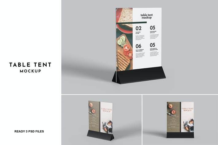 3 Psd Table tent Mockup
