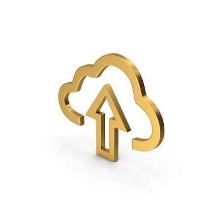 Symbol Cloud Upload Gold