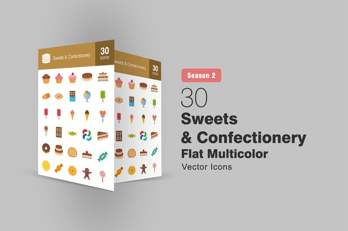 Thumbnail for 30 Sweets & Confectionery Flat Icons Season II