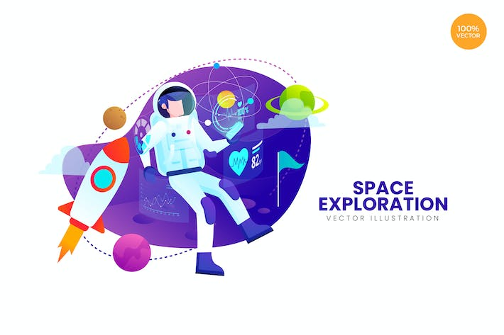 Cover Image For Space Exploration Vector Illustration Concept