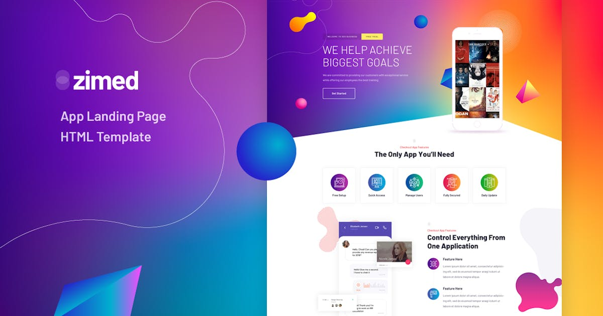 Download Zimed - App Landing Page HTML Template by Layerdrops