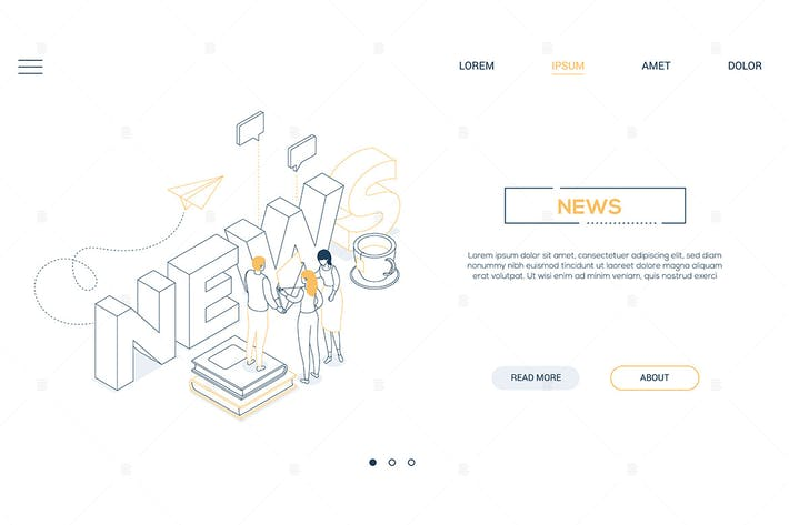 Thumbnail for News concept - line design style isometric banner