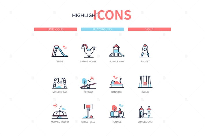 Thumbnail for Playground elements - line design style icons set