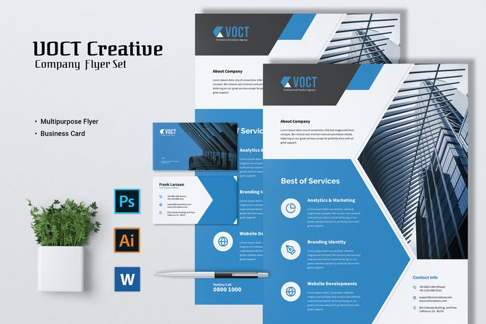 Thumbnail for VOCT Creative Agency Flyer & Business Card