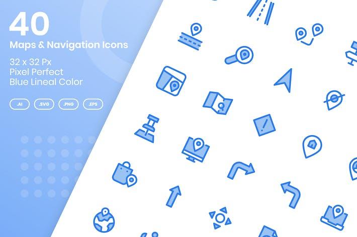 Thumbnail for 40 Карт и Навигация - Синий Линейный Цветовой Стиль