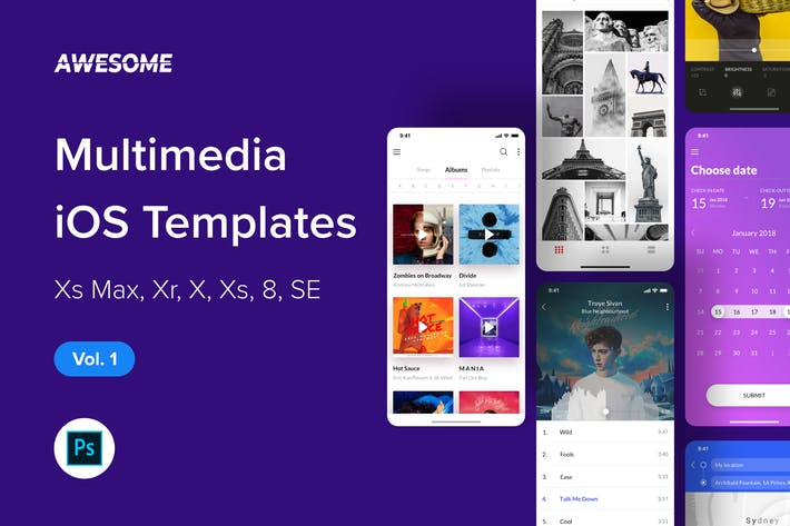 Thumbnail for Awesome iOS UI Kit - Multimedia Vol. 1 (Photoshop)