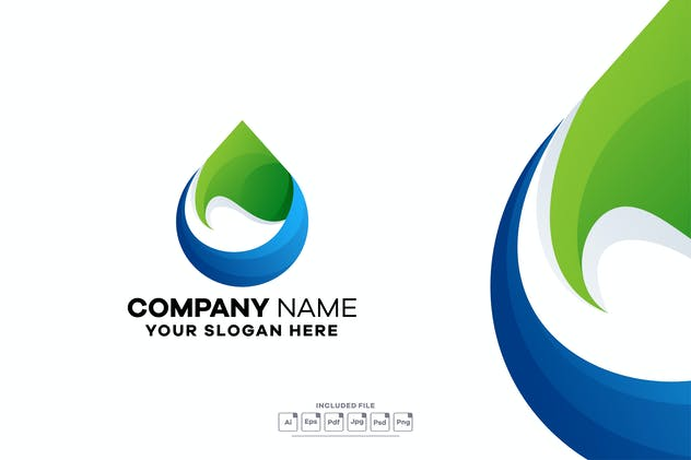 Water Leaf Gradient Colorful Logo Template