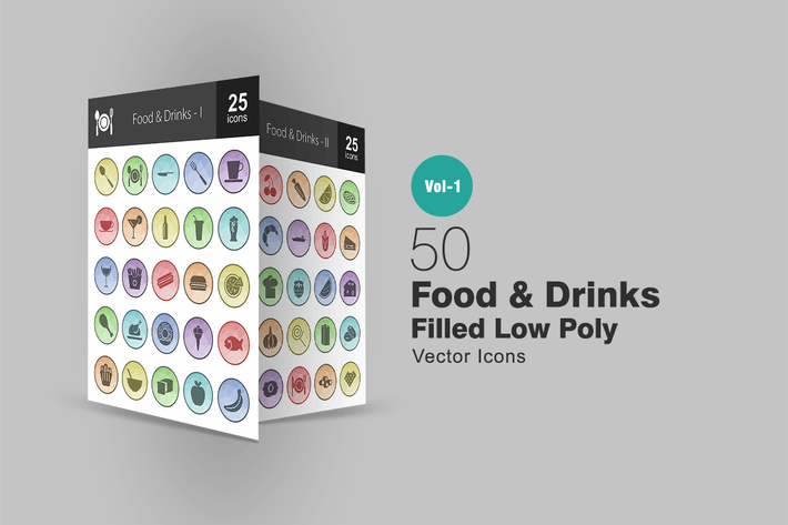 Thumbnail for 50 Food & Drinks Filled Low Poly Icons