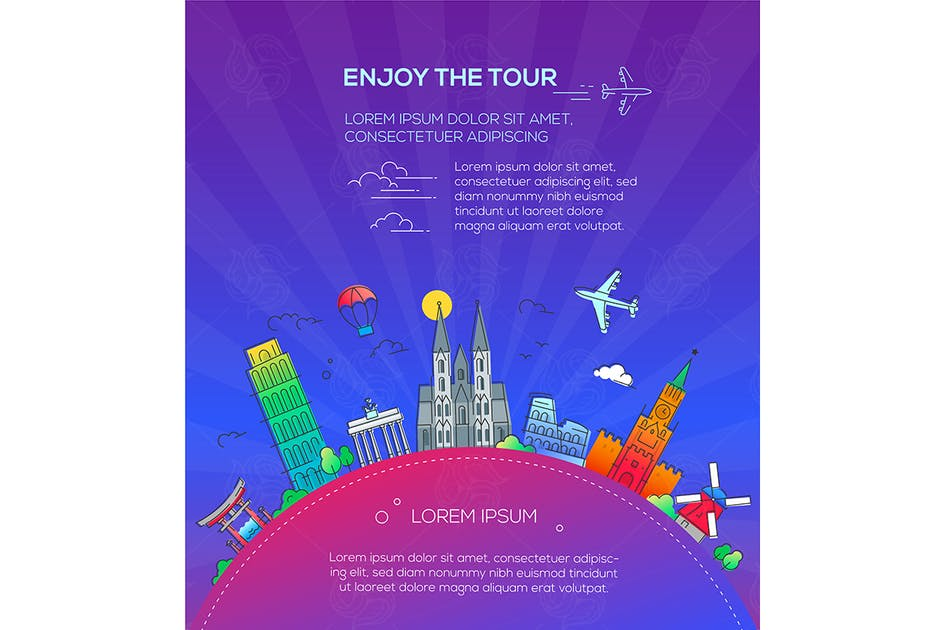 Download Enjoy the Tour - flat design travel composition by BoykoPictures