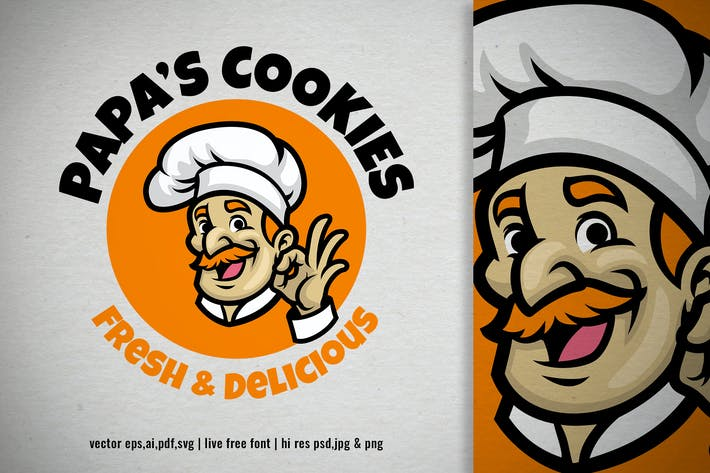 senior chef cartoon mascot logo