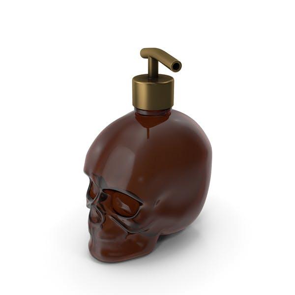 Dark Medical Glass Skull Bottle with Gold Dispenser