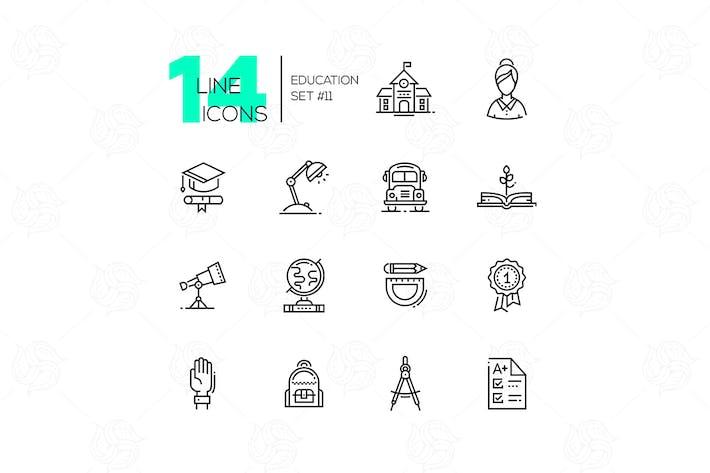 Thumbnail for Schule und Bildung - LinienIcons Set