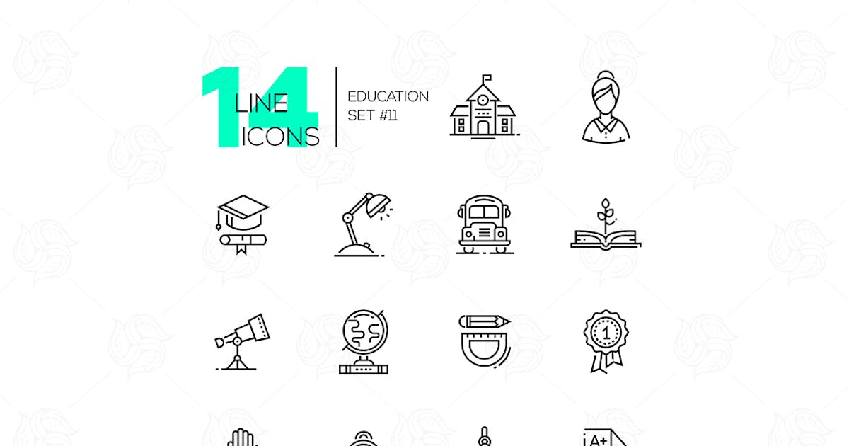 Download School and Education - line icons set by Unknow