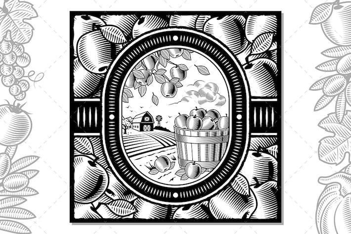 Thumbnail for Apple Harvest Design Black And White
