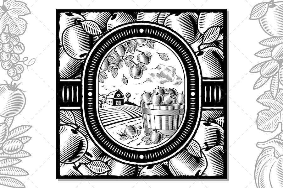 Apple Harvest Design Black And White