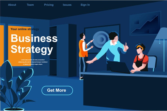 Thumbnail for Business Strategy Isometric Web Page Flat Concept