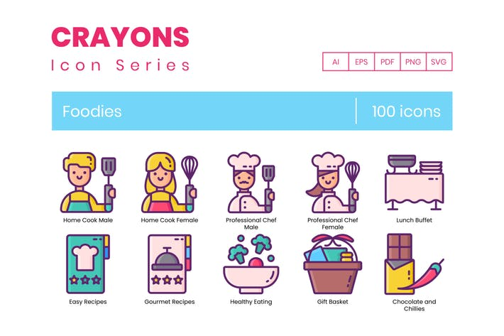 Thumbnail for 100 Foodies Line Icons
