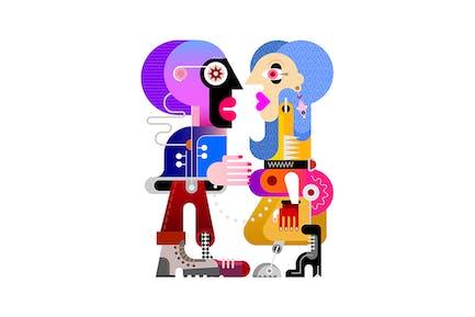 Молодая женщина и ее парень вектор иллюстрация