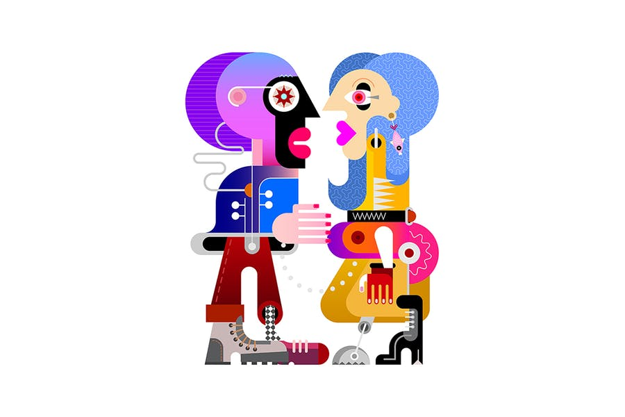 Young Woman and Her Boyfriend vector illustration