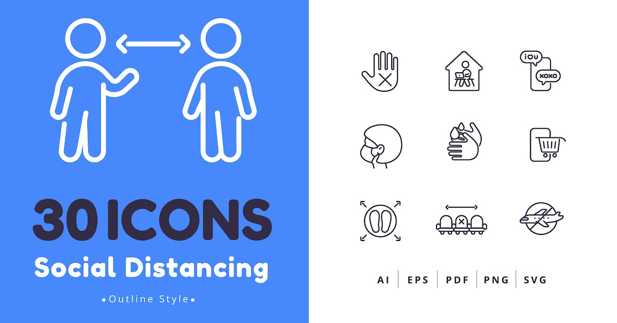 Download 30 Social Distancing Icons Outline Style by Victoruler