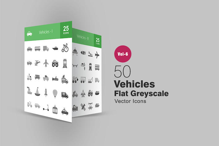 Thumbnail for 50 Vehicles Flat Greyscale Icons