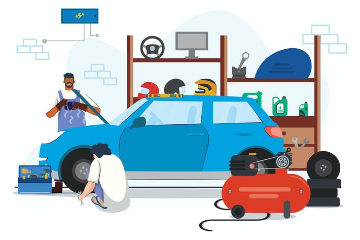 Thumbnail for Autoreparatur in Werkstatt Illustration