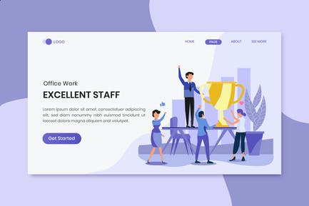 Excellent Staff Office Worker Landing Page