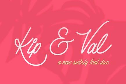 Kip & Val Script Font Duo
