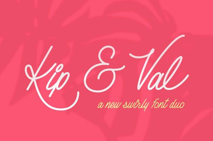 Thumbnail for Kip & Val Script - Dúo de fuentes