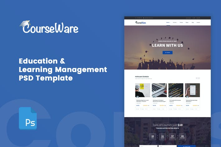 Thumbnail for CourseWare - Learning Management PSD Template