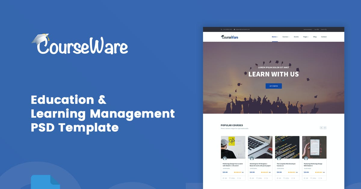 Download CourseWare - Learning Management PSD Template by bigpsfan