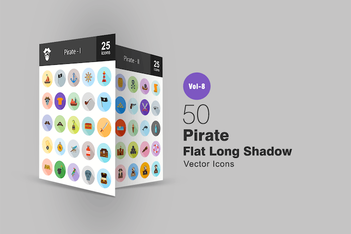 Thumbnail for 50 Pirate Flat Shadowed Icons