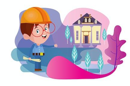 Little Architect - Vector Kids Illustration