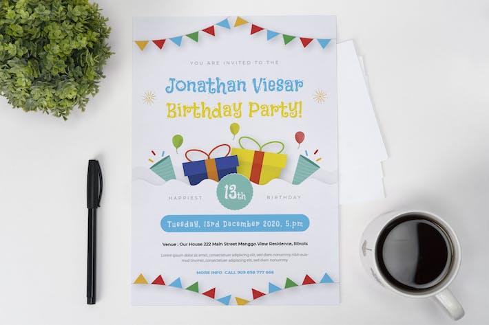 Thumbnail for Colorful Flag Birthday Invitation