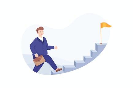 Geschäftsmann läuft Treppe nach oben