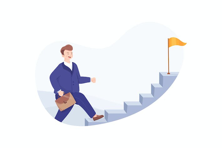 Cover Image For Businessman running up stairway to the top