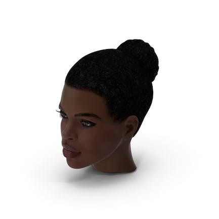 Mujer Afro Americana Cabeza Piel Oscura